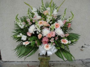 Light Pink Roses, Carnation, and Gerbera Daisy Ceremonial Arrangement