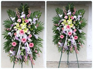 Extravagant Purple/Lavender Arrangement with Accented Pink Daisies Standing Spray