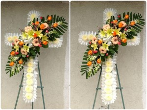 White Chrysanthemum Filled Standing Cross with Center Arrangement
