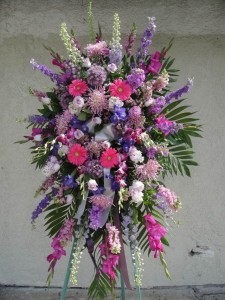 Pink Gerbera Daisies and Mixed Lavender Flowers Standing Spray
