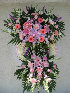 Two Layered Pink and Lavender Standing Wreath Spray