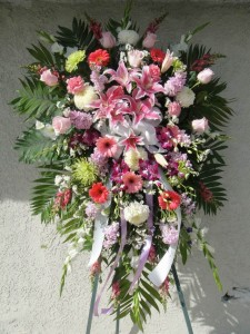 Star Gazer Lily, Pink Rose, Daisy, and Lavender Orchid Standing Spray