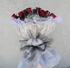 Gorgeous Red Roses with Silver Ribbon